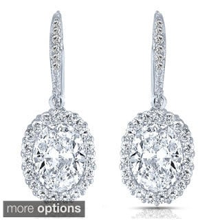 Collette Z Sterling Silver Clear Cubic Zirconia Oval Drop Earrings