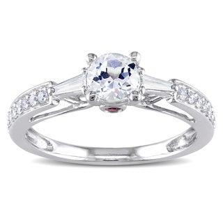 Miadora 14k White Gold Created Sapphire and 3/8ct TDW Diamond Ring