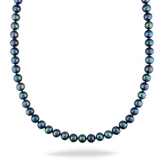 Miadora 14k White Gold Black Pearl Necklace (8-9 mm)