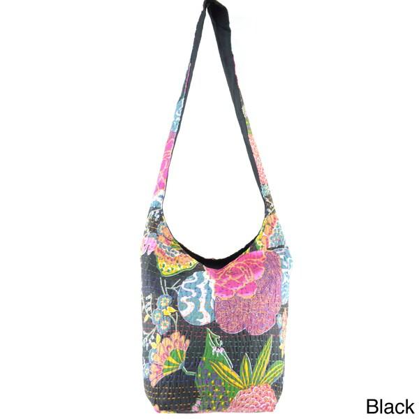 Handmade Bucket Kantha Stitched Cross-body Bag (India)
