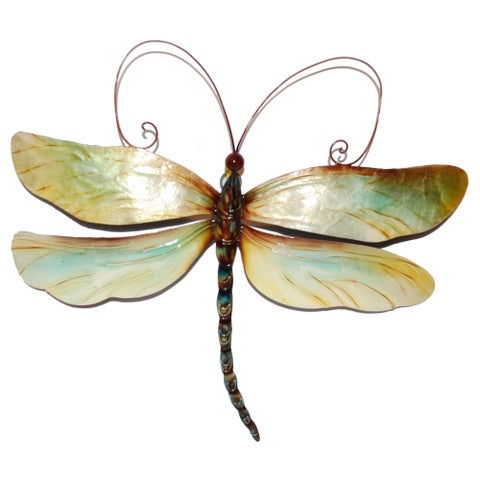 Handmade Metal and Capiz Dragonfly Wall Decor