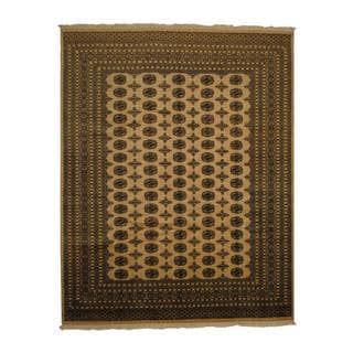Herat Oriental Pakistan Hand-knotted Prince Bokhara Beige/ Ivory Wool Rug (8' x 10')
