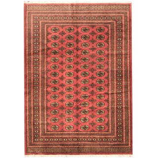 Herat Oriental Pakistan Hand-knotted Prince Bokhara Peach/ Ivory Wool Rug (6' x 9')