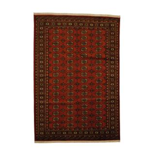 Herat Oriental Pakistan Hand-knotted Prince Bokhara Rust/ Ivory Wool Rug (6' x 9')