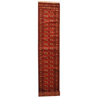 Herat Oriental Pakistan Hand-knotted Prince Bokhara Red/ Ivory Wool Rug (2'6 x 13')
