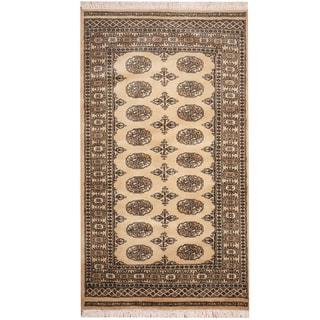 Herat Oriental Pakistan Hand-knotted Prince Bokhara Beige/ Ivory Wool Rug (3' x 5')