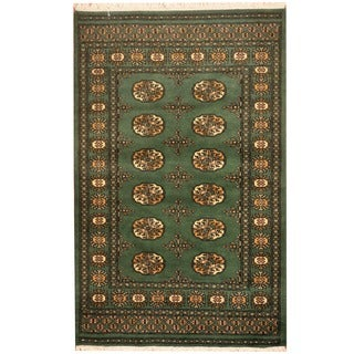 Herat Oriental Pakistan Hand-knotted Prince Bokhara Green/ Ivory Wool Rug (3' x 5')