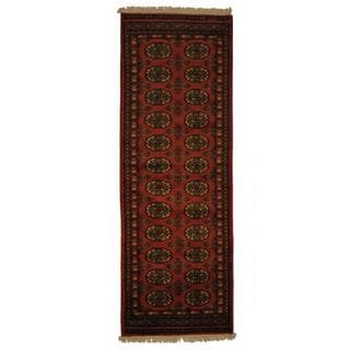 Herat Oriental Pakistan Hand-knotted Prince Bokhara Peach/ Ivory Wool Rug (2' x 6')