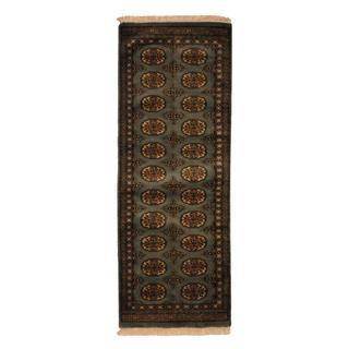 Herat Oriental Pakistan Hand-knotted Bokhara Grey/ Ivory Wool Runner Rug (2' x 6')