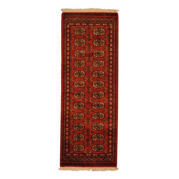 Persian Bokhara Hand Knotted Wool Area Rug: Herat Oriental Pakistani Hand-knotted Bokhara Rust And