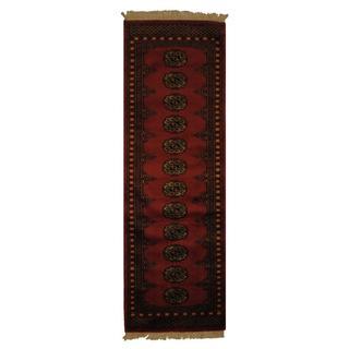 Herat Oriental Pakistani Hand-knotted Bokhara Dark Peach/ Ivory Wool Rug(2' x 6')