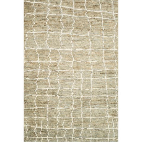 Hand-knotted Natural/ Light Grey Transitional Wool/ Jute Area Rug - 8'6 x 11'6
