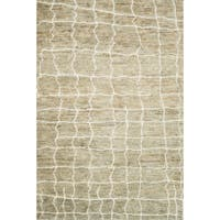 Hand-knotted Natural/ Light Grey Transitional Wool/ Jute Area Rug - 9'6 x 13'6