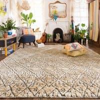 Hand-knotted Beige/ Grey Transitional Geometric Wool/ Jute Area Rug - 8'6 x 11'6