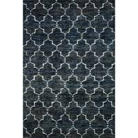 Hand-knotted Navy/ Grey Contemporary Trellis Wool/ Jute Area Rug - 8'6 x 11'6