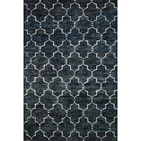 Hand-knotted Navy/ Grey Contemporary Trellis Wool/ Jute Area Rug - 9'6 x 13'6