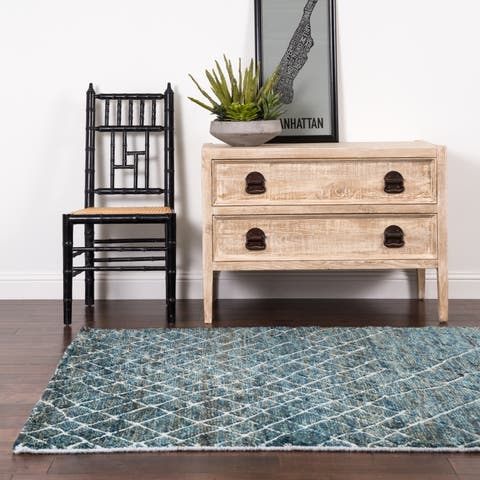 Hand-knotted Teal/ Blue Transitional Wool/ Jute Area Rug - 9'6 x 13'6