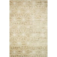 Hand-knotted Natural/ Ivory Contemporary Geometric Wool/ Jute Area Rug - 9'6 x 13'6