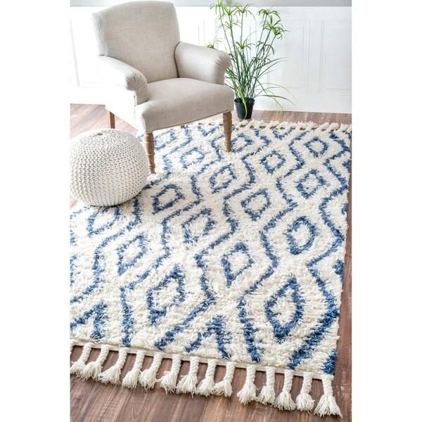Shop Nuloom Indoor Outdoor Moroccan Trellis Rug: NuLOOM Hand-knotted Moroccan Diamond Trellis Blue Shag Rug