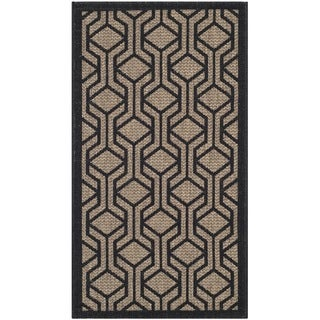 Safavieh Courtyard Modern Geometric Brown/ Black Indoor/ Outdoor Rug (2' x 3'7)
