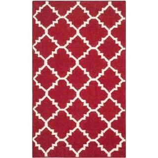 Safavieh Hand-woven Geometric Moroccan Reversible Dhurries Red/ Ivory Wool Rug - 2'6 x 4'
