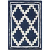 Safavieh Handmade Moroccan Chatham Navy/ Ivory Wool Rug - 3' x 5'
