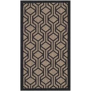 Safavieh Courtyard Modern Geometric Brown/ Black Indoor/ Outdoor Rug (2'7 x 5')