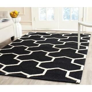 Safavieh Handmade Moroccan Cambridge Geometric Pattern Black/ Ivory Wool Rug (5' x 8')