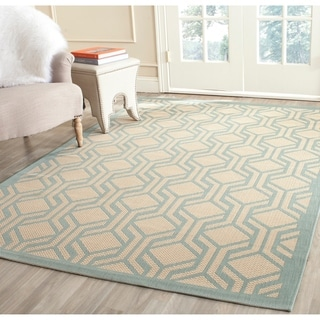 Safavieh Courtyard Modern Geometric Beige/ Aqua Indoor/ Outdoor Rug (4' x 5'7)