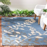 Safavieh Indoor/ Outdoor Courtyard Floral-pattern Blue/ Beige Rug - 4' x 5'7