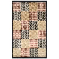 Safavieh Hand-knotted Tibetan Geometric Contemporary Black/ Rust Wool/ Silk Rug - 3' x 5'