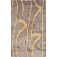 Safavieh Hand-knotted Tibetan Contemporary Abstract Brown/ Gold Wool/ Silk Rug - 3' x 5'