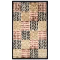Safavieh Hand-knotted Tibetan Geometric Contemporary Black/ Rust Wool/ Silk Rug - 4' x 6'