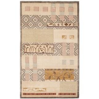 Safavieh Hand-knotted Tibetan Contemporary Beige Wool/ Silk Rug (4' x 6')