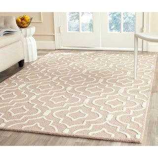 Safavieh Handmade Contemporary Moroccan Cambridge Beige/ Ivory Wool Rug (5' x 8')