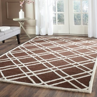 Safavieh Handmade Moroccan Cambridge Crisscross-pattern Dark Brown/ Ivory Wool Rug (6' x 9')