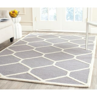 Durable Safavieh Handmade Moroccan Cambridge Silver/ Ivory Wool Rug (5' x 8')