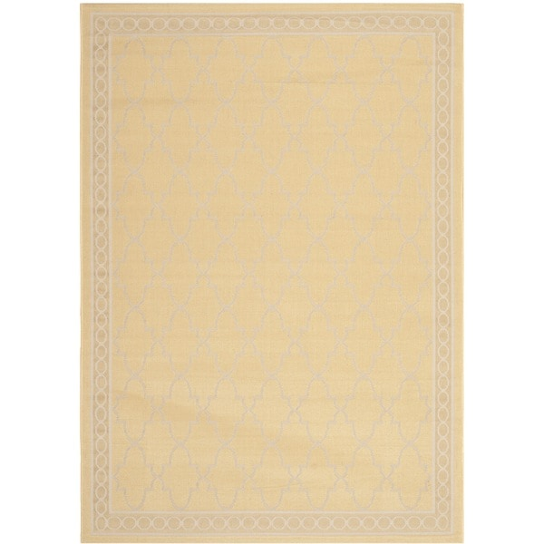 Safavieh courtyard trellis all weather yellow beige for All weather patio rugs