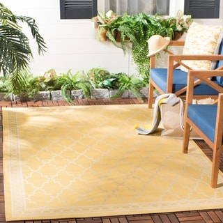 Safavieh Courtyard Trellis All-Weather Yellow/ Beige Indoor/ Outdoor Rug (5'3 x 7'7)