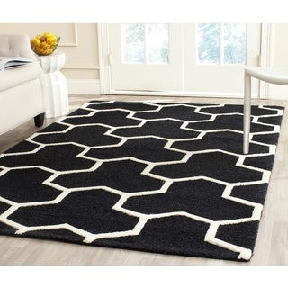 Safavieh Handmade Moroccan Cambridge Canvas-backed Black/ Ivory Wool Rug (6' x 9')