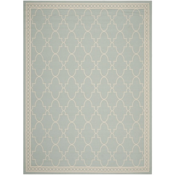 Safavieh courtyard trellis all weather aqua beige indoor for All weather patio rugs
