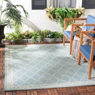 Safavieh Indoor/ Outdoor Courtyard Aqua/ Beige Rug (6'7 x 9'6)