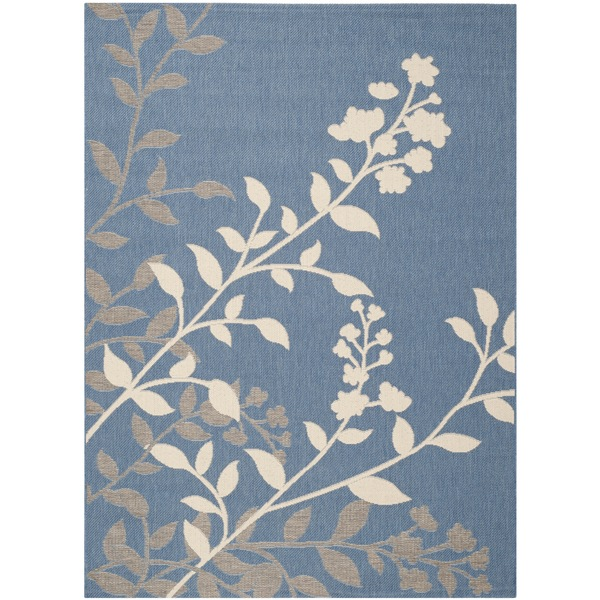 "Safavieh Indoor/ Outdoor Courtyard Floral Blue/ Beige Rug (5'3"" x 7'7"")"