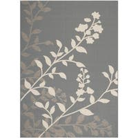 Safavieh Indoor/ Outdoor Courtyard Anthracite/ Beige Contemporary Rug - 5'3 x 7'7