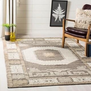 Safavieh Handmade Kenya Ivory/ Brown Wool Rug (5' x 8')