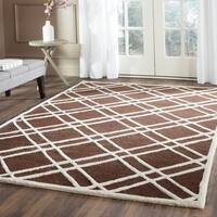 Safavieh Handmade Moroccan Cambridge Dark Brown/ Ivory 100-percent Wool Rug - 8' x 10'