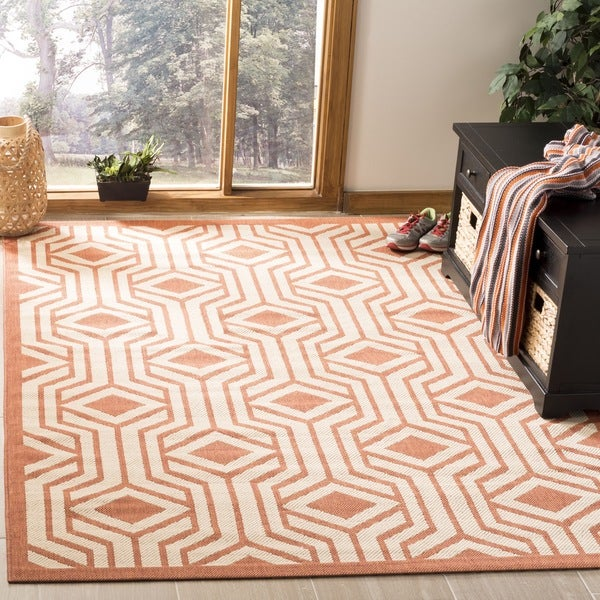 Safavieh Courtyard Beige/ Terracotta Indoor/ Outdoor Rug - 8' x 11'