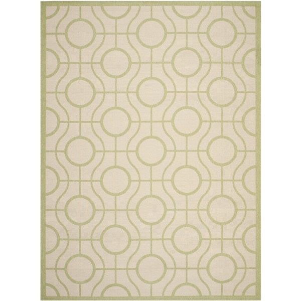 Safavieh Courtyard Modern Ogee Beige/ Sweet Pea Green Indoor/ Outdoor Rug - 8' x 11'