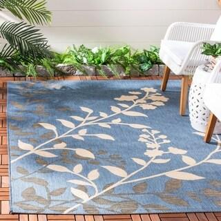Safavieh Indoor/ Outdoor Courtyard Floral-pattern Blue/ Beige Rug (8' x 11')