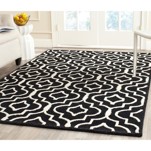Safavieh Handmade Moroccan Cambridge Black/ Ivory Wool Rug - 9' x 12'